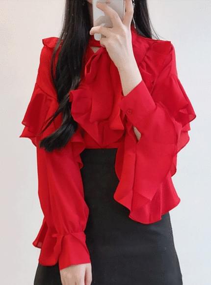 Red ♥ Ruffle Ribbon Blouse