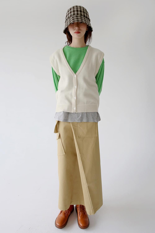 cozy mood loose knit vest (4colos)