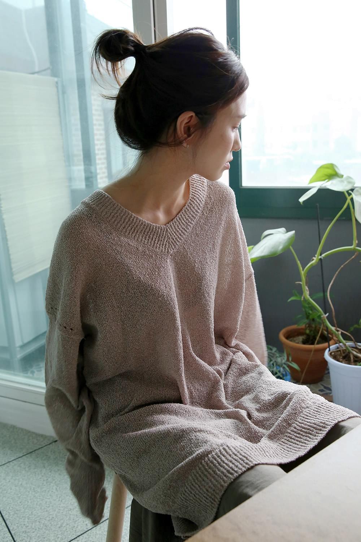 v neck wrinkle loose knit