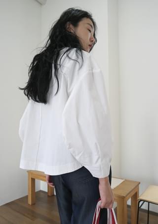 balloon sleeve cotton blouse
