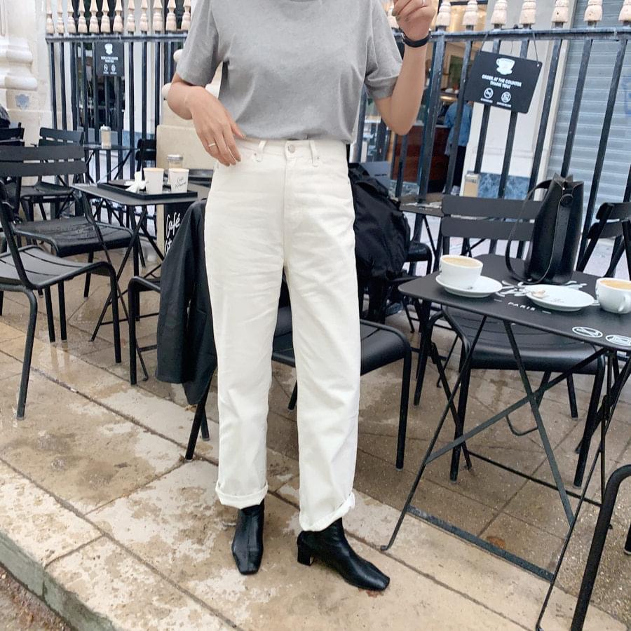 White flat pants