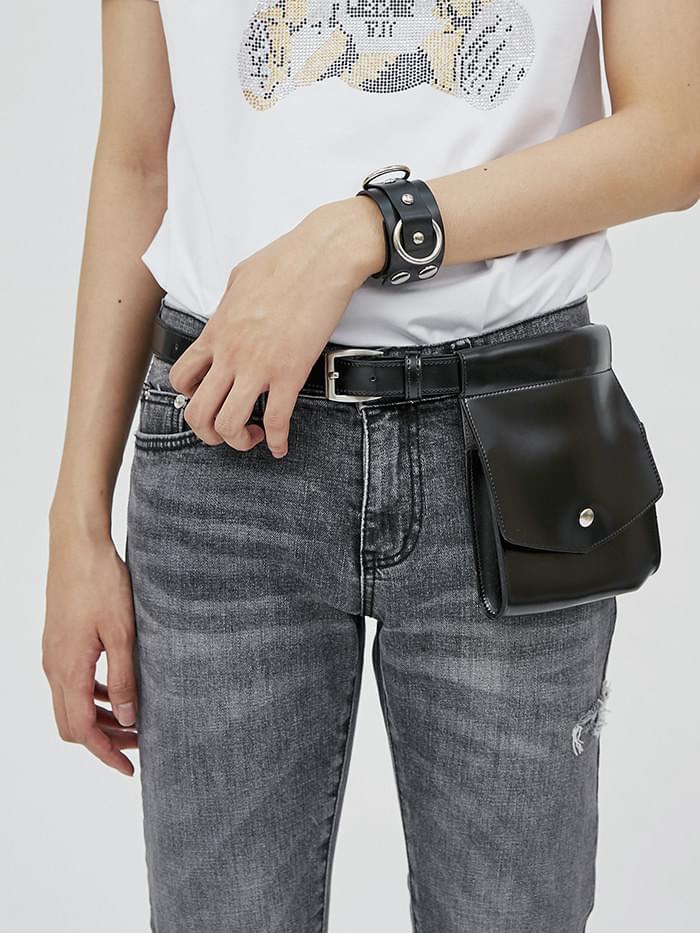leather pocket belt bag