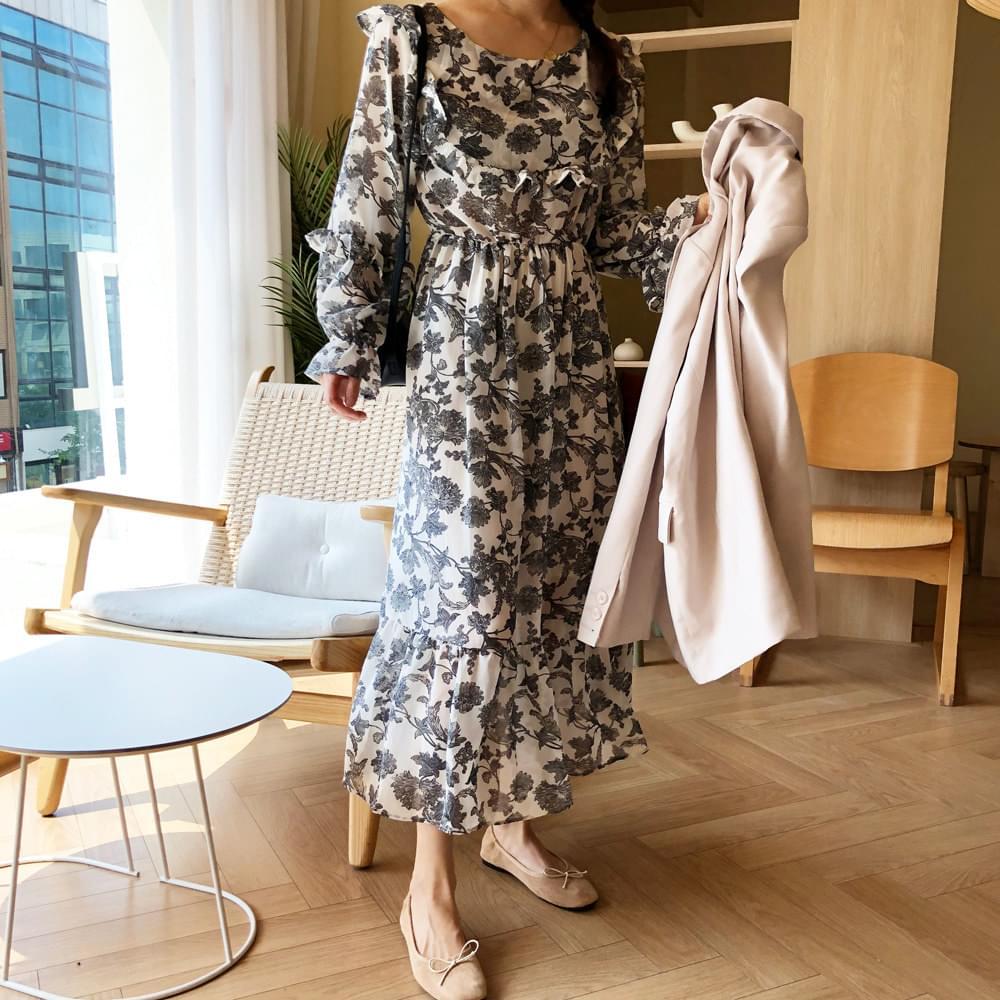 Ripple Pattern Chiffon Dress