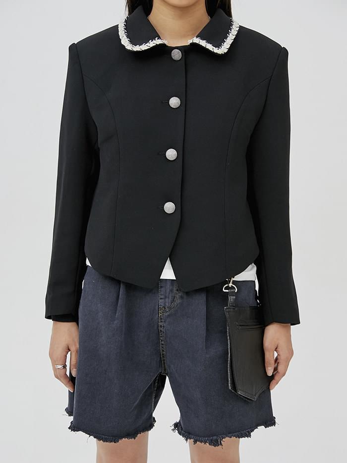 tweed collar vintage jacket (2 color) - woman