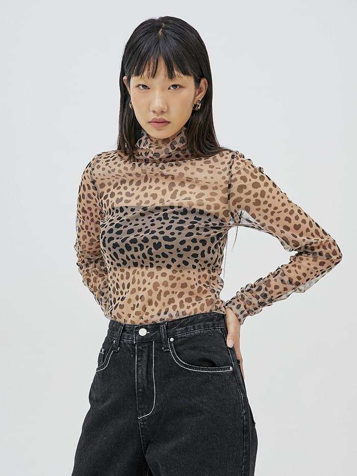 high neck leopard shirring mesh T (2 color) - woman