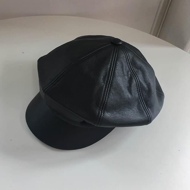 Fake leather beret
