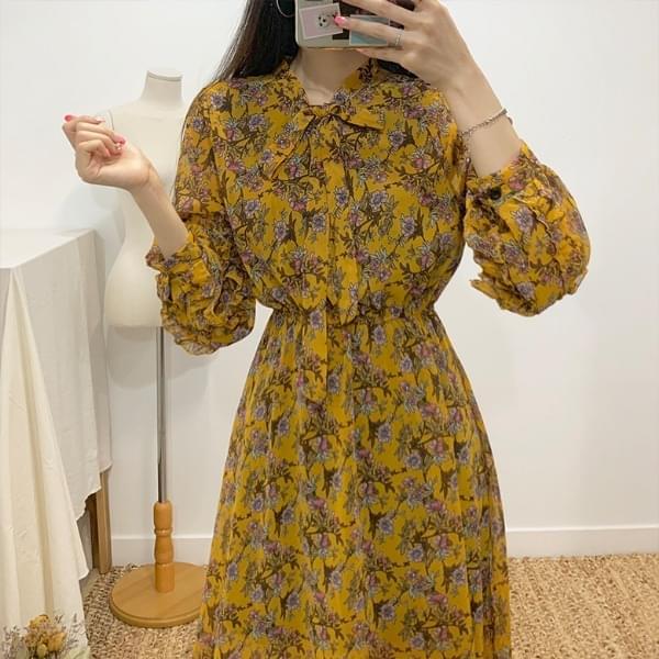 Lisa Ribbon Tie Flower Long Dress