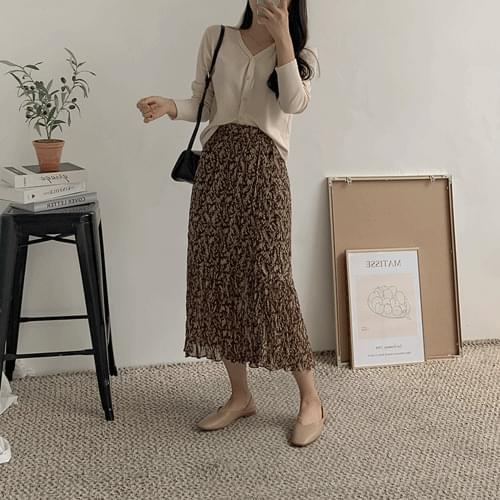 Pleated Pleated Long Skirt