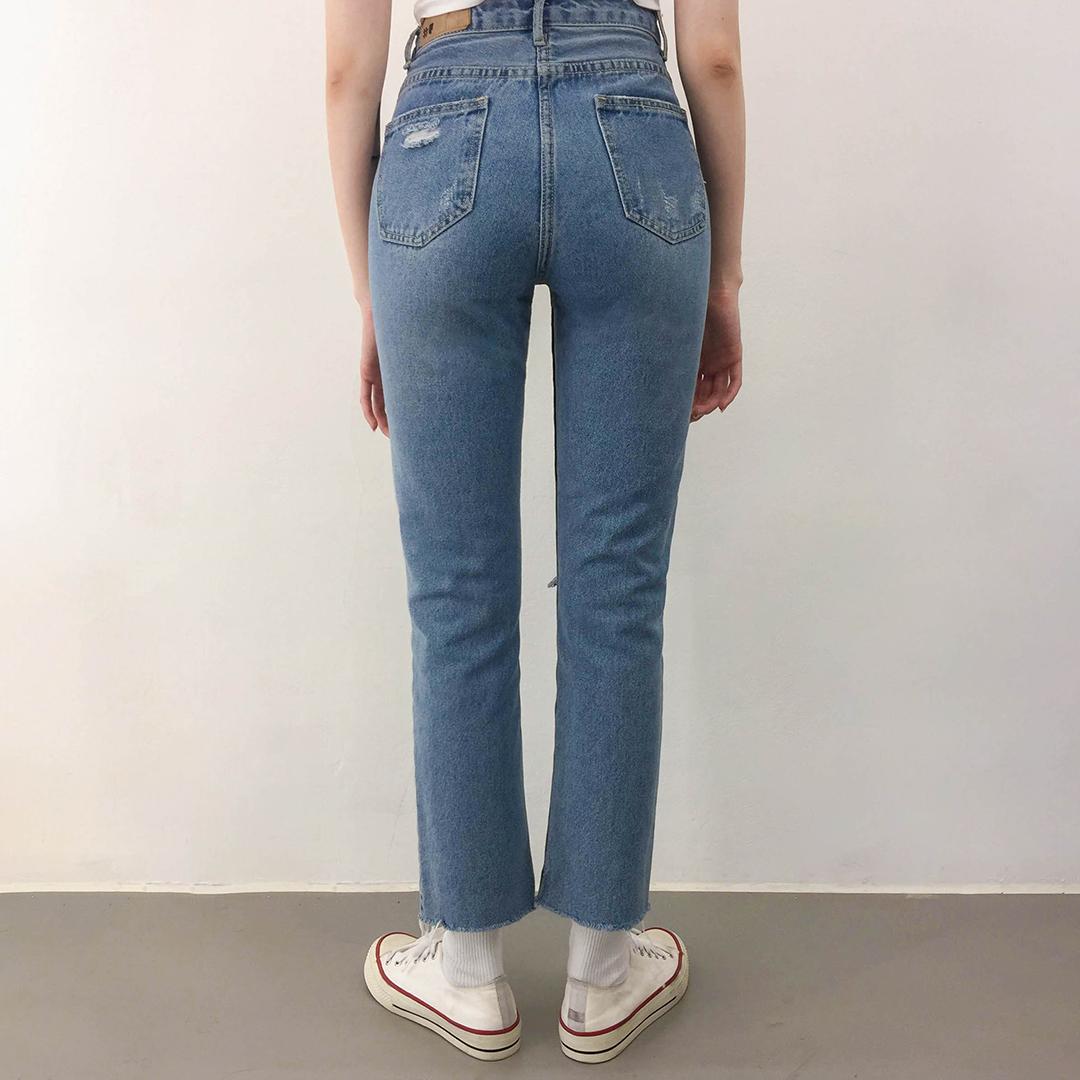 Cutting Damage Denim Long Pants