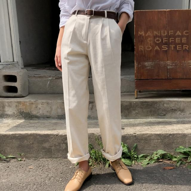 Daily Double Pin Tuck Cotton Pants-pt 長褲