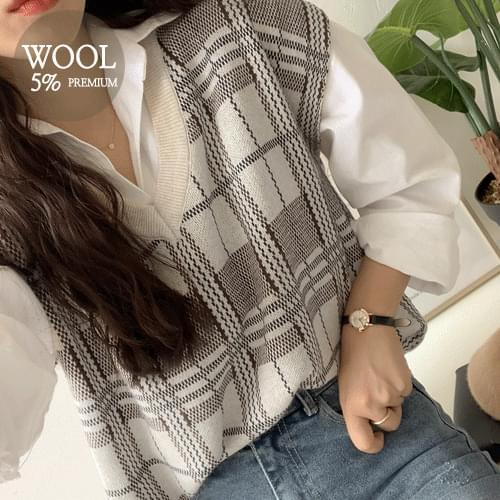 Azel Check Wool Vest