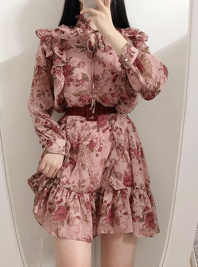 Belt set ♥ Romance flower frill dress 洋裝