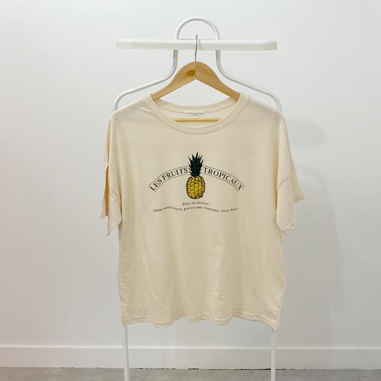 Pineapple printing round short sleeves