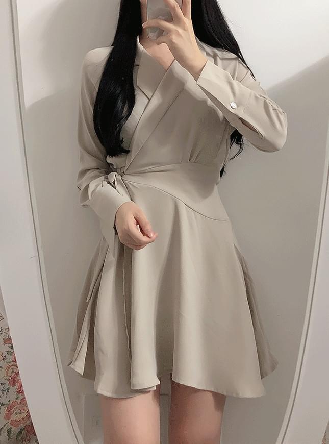 Like Color Wrap Dress