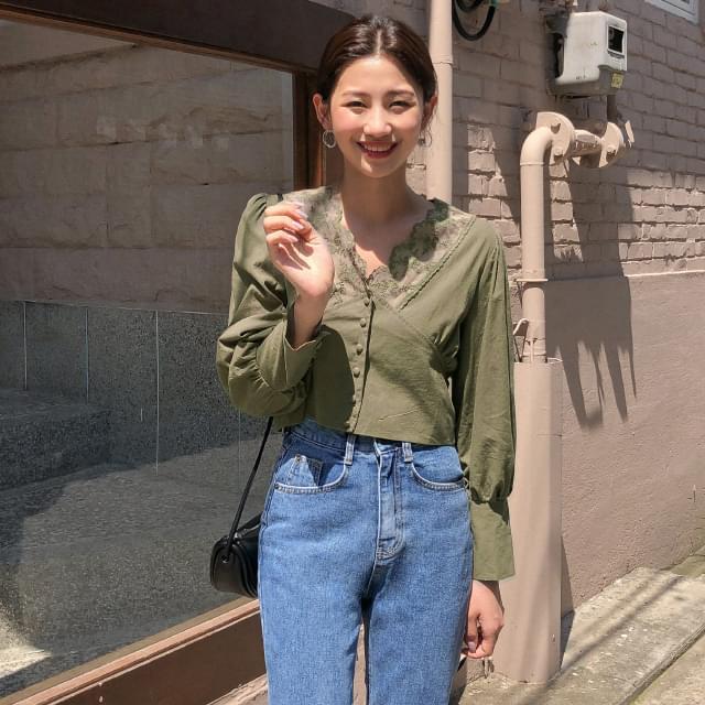 Feminine lace crop blouse-bl 襯衫