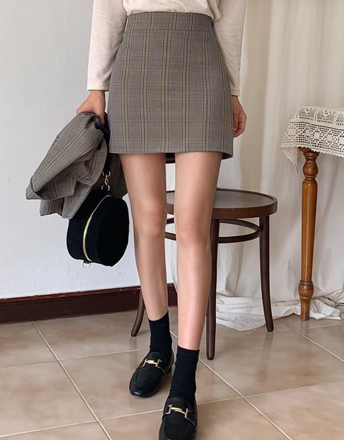 Leo check skirt