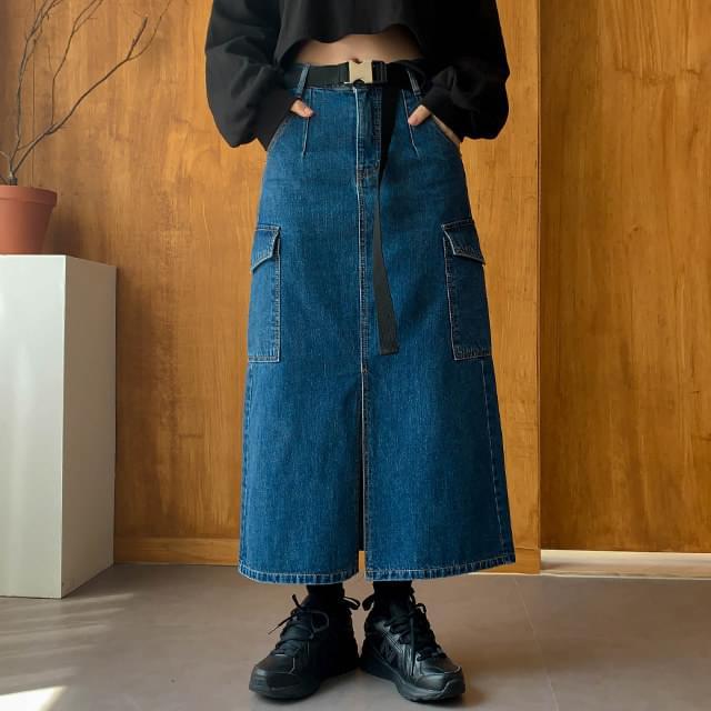 Cargo Sander Denim Long Skirt