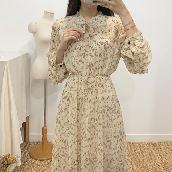 Liz Flower Frill Long Dress