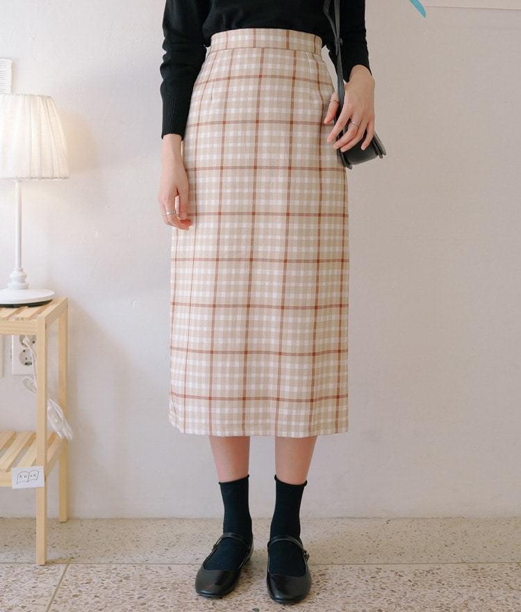 Waffle check skirt