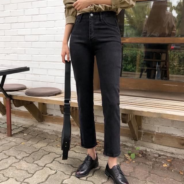 Vintage Slim Straight Fit Black Jeans 長褲