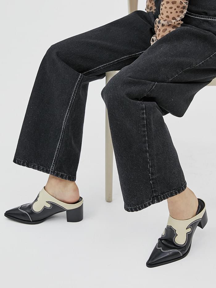 two-tone western mule slipper