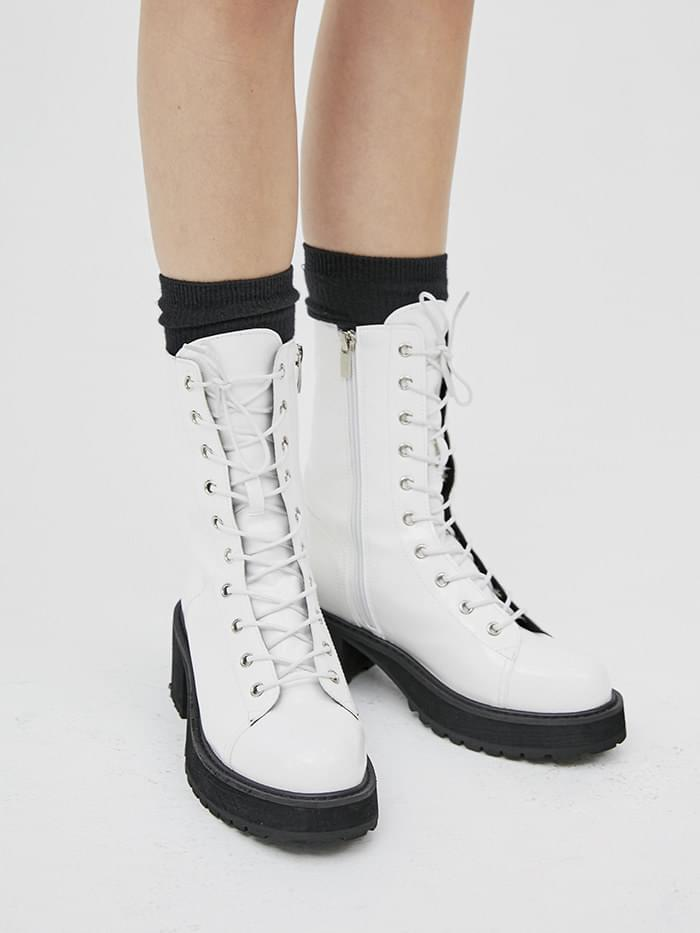 gloss leather walker boots (4 color)