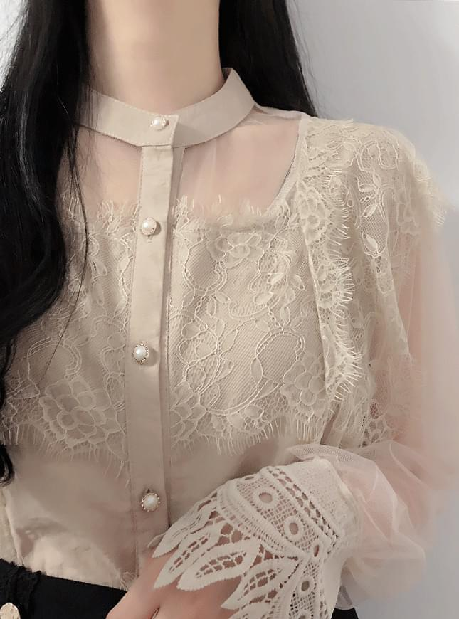 Sugar lace see-through blouses