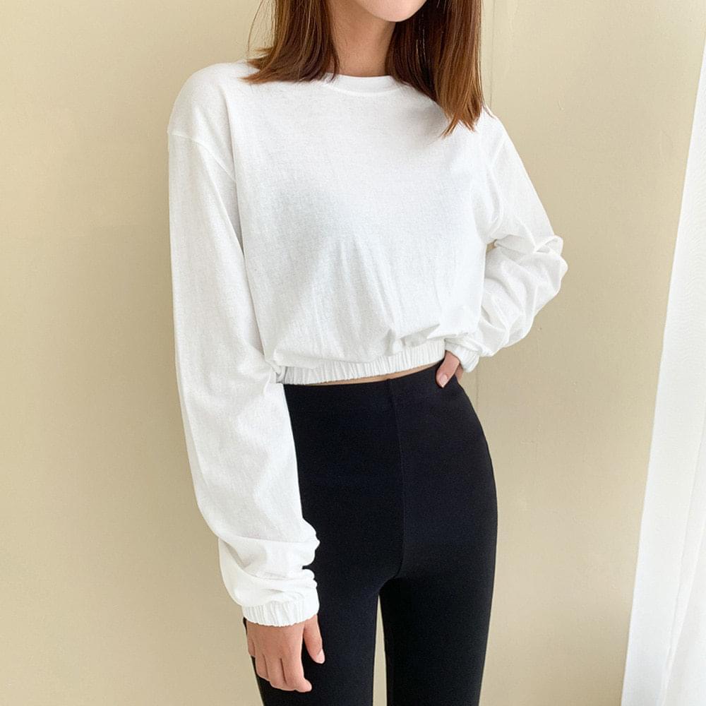 Banded crop long-sleeved T-shirt 長袖上衣
