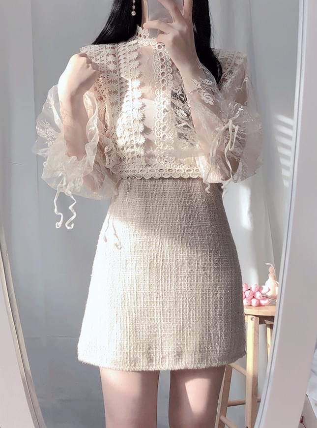 Kael tweed see-through mini ops dresses