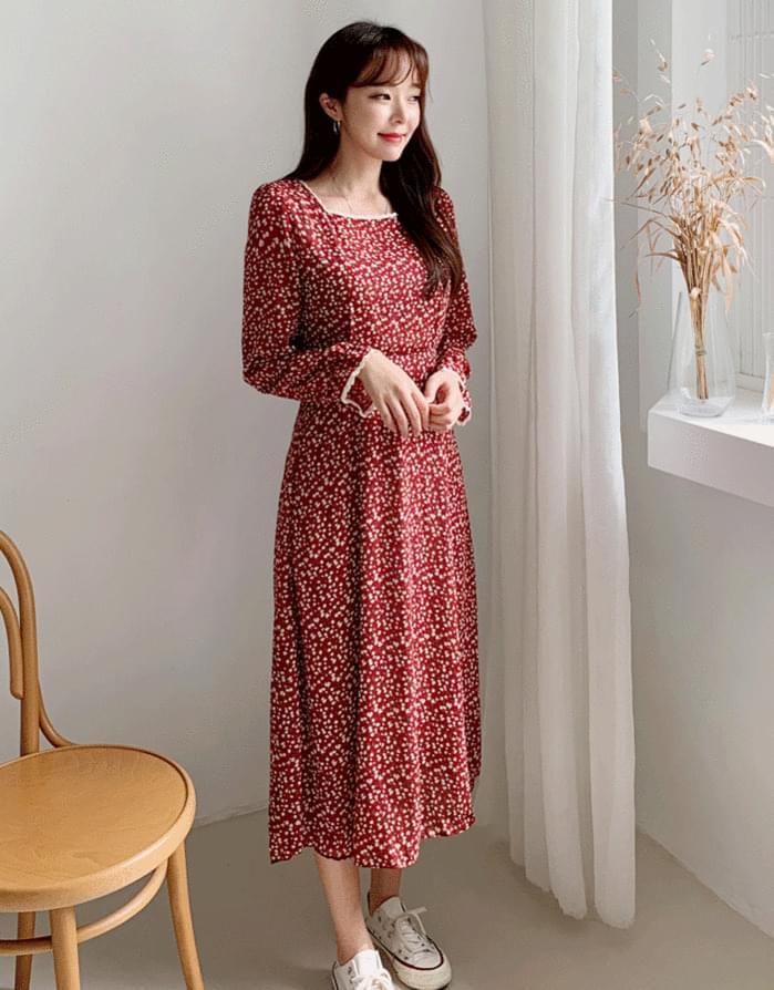 韓國空運 - Square Floral Dress 及膝洋裝