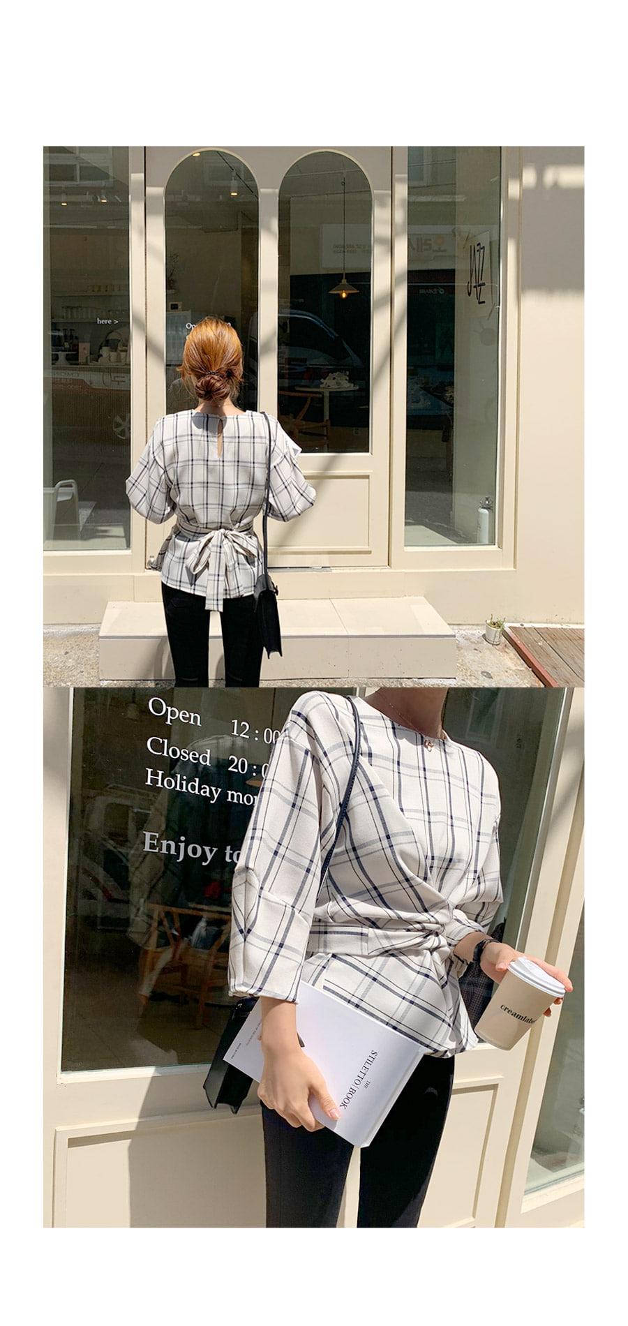 As check balloon blouse