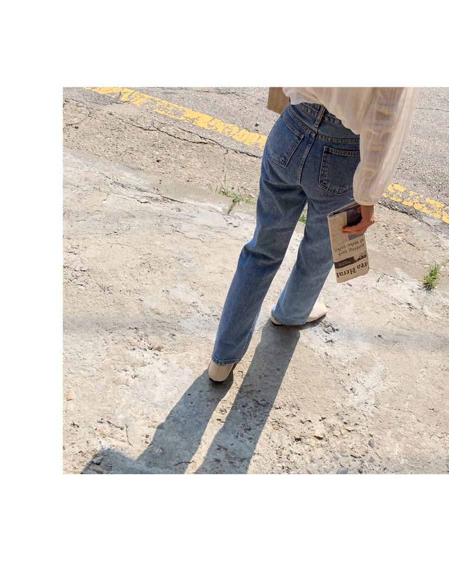 内置弹力腰牛仔阔腿裤