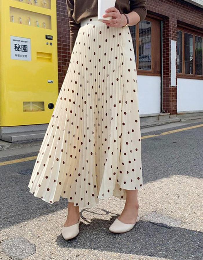 Peanut Dot Pleats Long Skirt