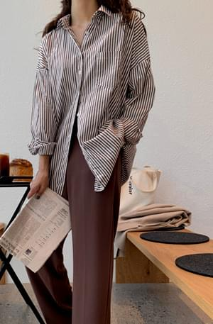 Boxy French striped long shirt
