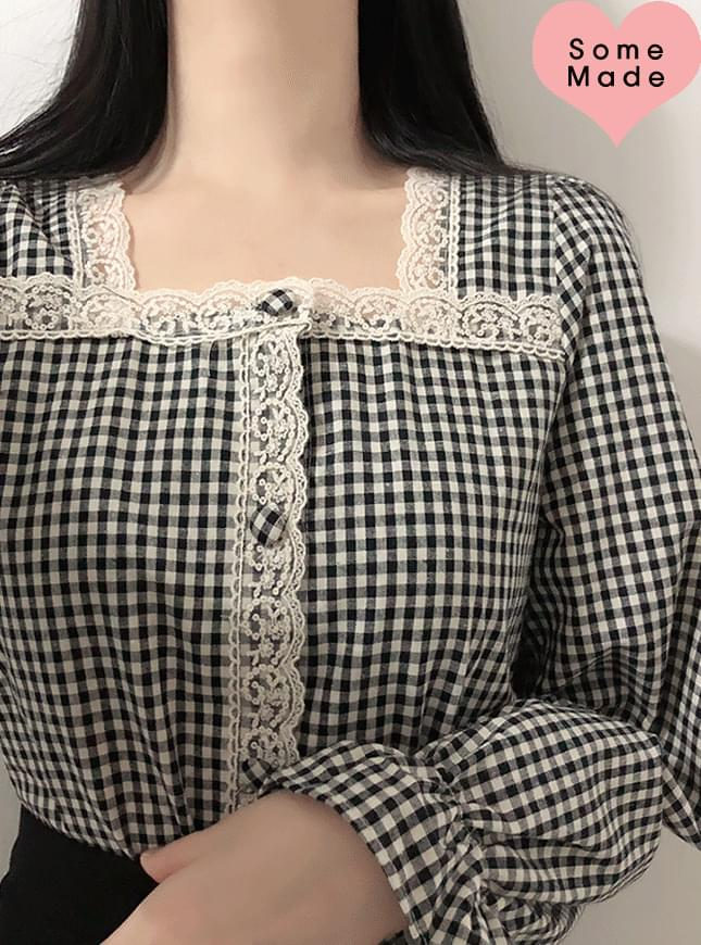 Self-made ♥ Yomi check lace blouse