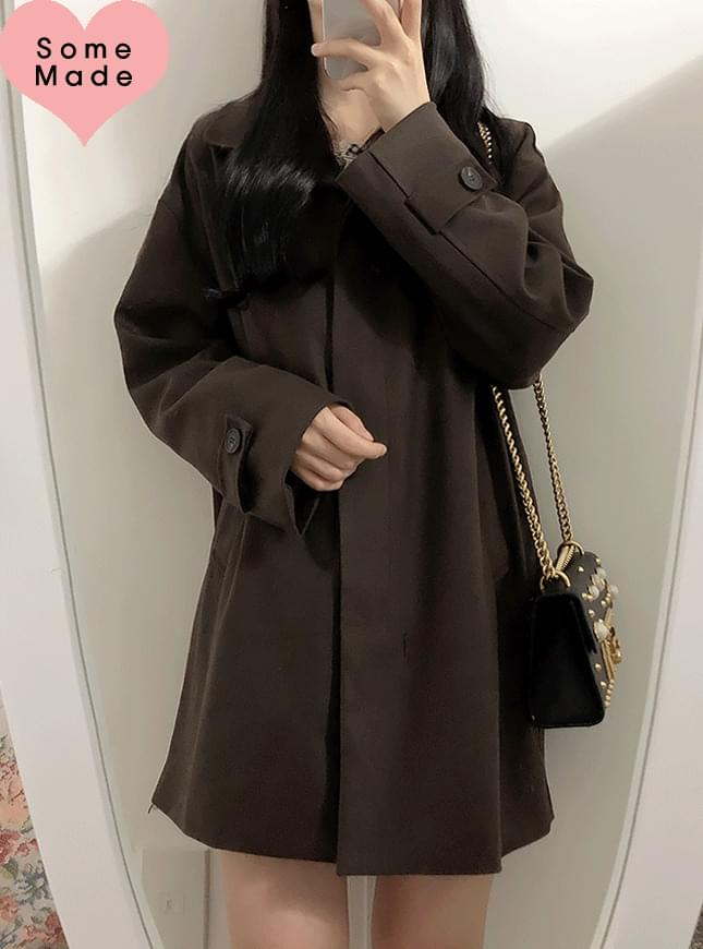 Self-made ♥ ganache wool snap button collar coat コート