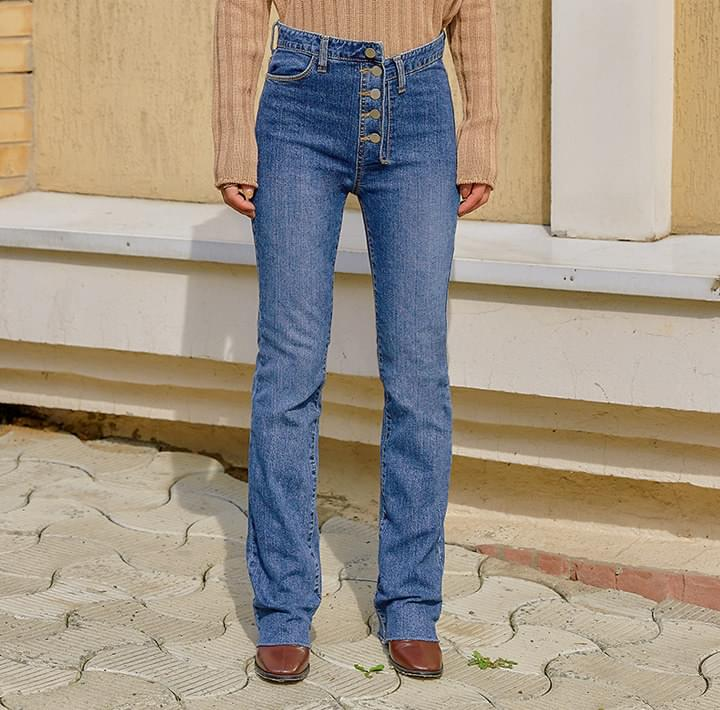 UNBAL BUTTON LONG DENIM PANTS