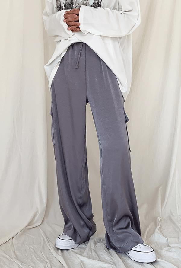 Cargo banding wide pants