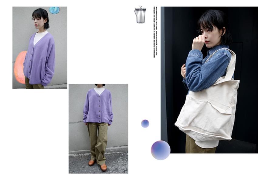 soft texture loose fit cardigan (purple)