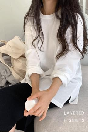 Trim layered long-sleeved T-shirt *