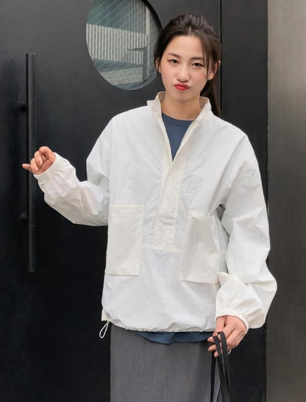 boxy fit string anorak