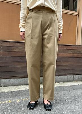 Side buckle cotton pants