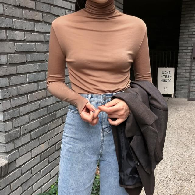 Tencel Slim Fit Turtleneck Long Sleeve