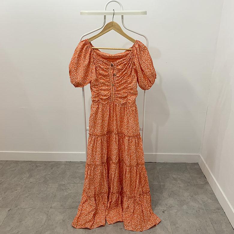 Terra Shirring Kankan Off-Shoulder Long Dress