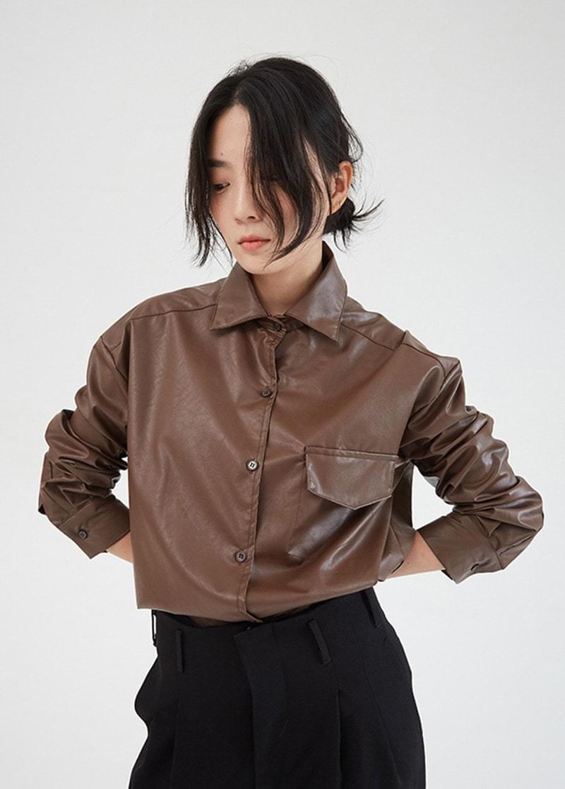 Leather shirt jacket 夾克外套