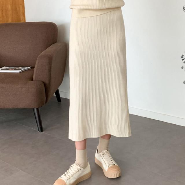 easy slit banding long skirt