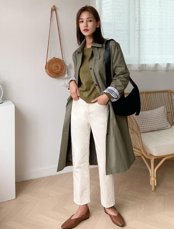 check pattern mac trench coat