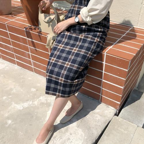 Sandy Check Long Skirt