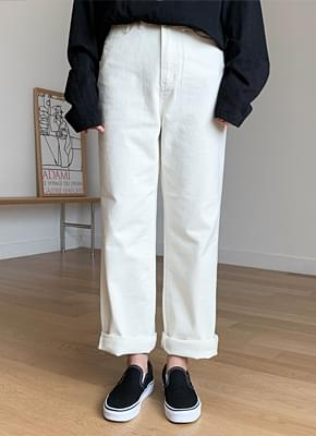 Peach-brushed straight cotton pants