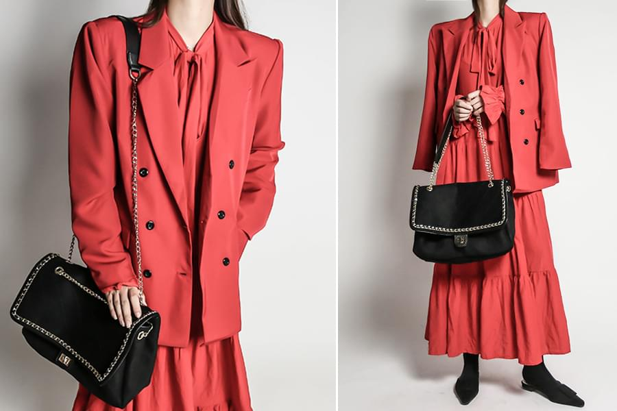 Overfit Double Red Blazer Jacket_JK03374